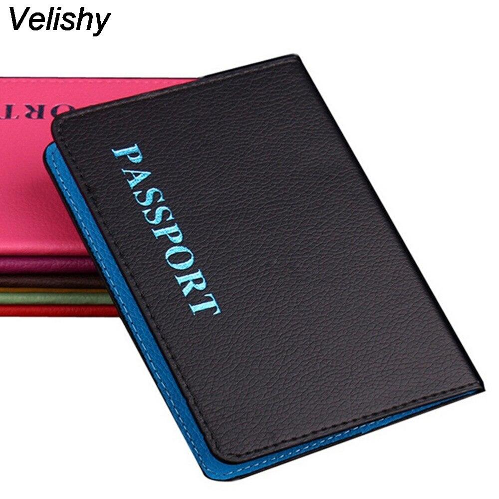 Velishy 1PCS Passport ID Bank Card Note Holder PU Passports Tickets Holder Passport Cover Passport Bag Clip Holder