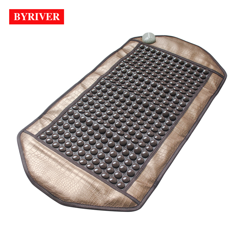 BYRIVER 98*50CM Natural Real Jade Stone Tourmaline Thermal Massage Mat Far Infrared Ray FIR Heat Ceramic Mattress FREE GIFT chess shape design ceramic disc safe hand keeping warm 5min charging 2 6 hours natural heat massage design
