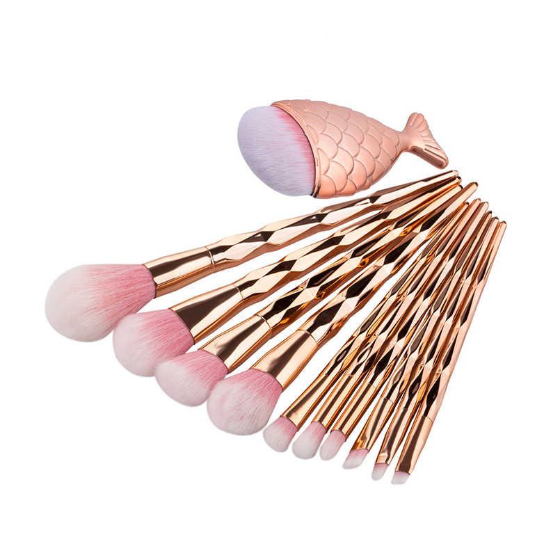 1 шт. щетку Diamond розовое золото Pincel Maquiagem Пудра Тени для век кисти для макияжа инструмент Мягкая Красота кисти для макияжа