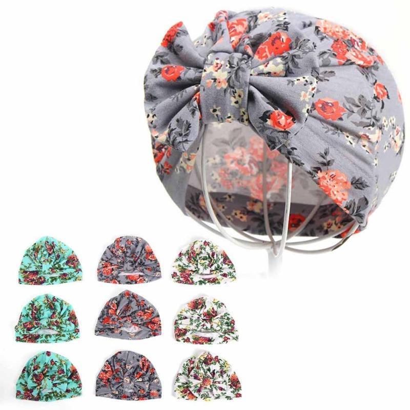 Spring Autumn Baby Hat Cotton Cap For Kids Boy Girl flower Print Children's Hats Caps Baby Beanie girls clothes Accessories D3