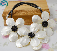 Unique Pearls jewellery Store White Real Shell Black Crystal Handmade Flower Necklace Black Rope Chirstmas Gift For Women