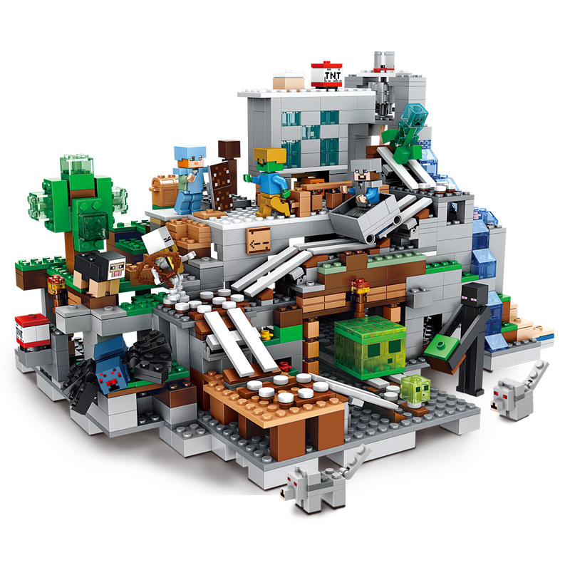 The Mountain Cave Minecrafted Steve Alex Zombie Action City Figures Garden Building Blocks Gift For Kids Friends My Mine World 4 in 1 my world legoelied steve alex zombie king of bam rock knight minecrafted minifigure building blocks bricks boy toy gift