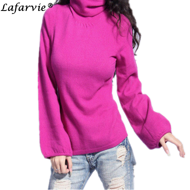 Lafarvie Quality Fashion Cashmere Blended Knitted Sweater Women Tops Winter Autumn Puff Sleeve Turtleneck Female Pullover Jumper