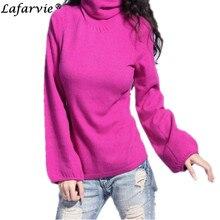 Lafarvie качество мода смеси кашемира вязаный свитер женщины топы зима осень слоеного рукав, женщины пуловер jumper