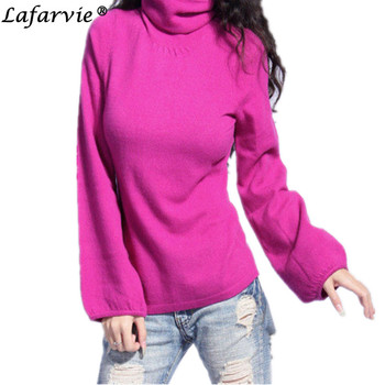 Lafarvie Quality Fashion Cashmere Blended Knitted Sweater Women Tops Winter Autumn Puff Sleeve Turtleneck Female Pullover Jumper lafarvie knitted turtleneck cashmere sweater women tops full sleeve pullover female loose thick csual jumper high quality s xxl