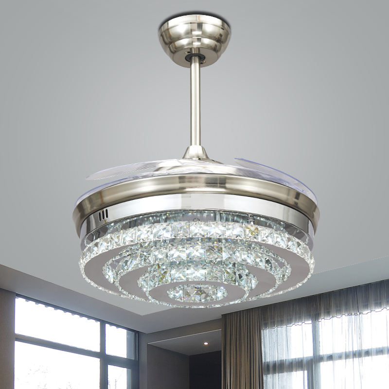 Nordic led invisible crystal ceiling fans lights bedroom - Bedroom ceiling fans with remote control ...