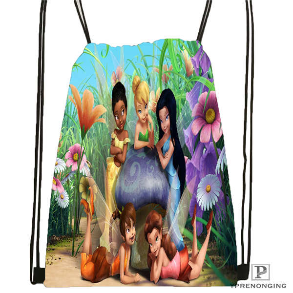 Custom Peter-Pan-Flying-With-Tinkerbell Drawstring Backpack Bag Cute Daypack Kids Satchel (Black Back) 31x40cm#20180611-02-83