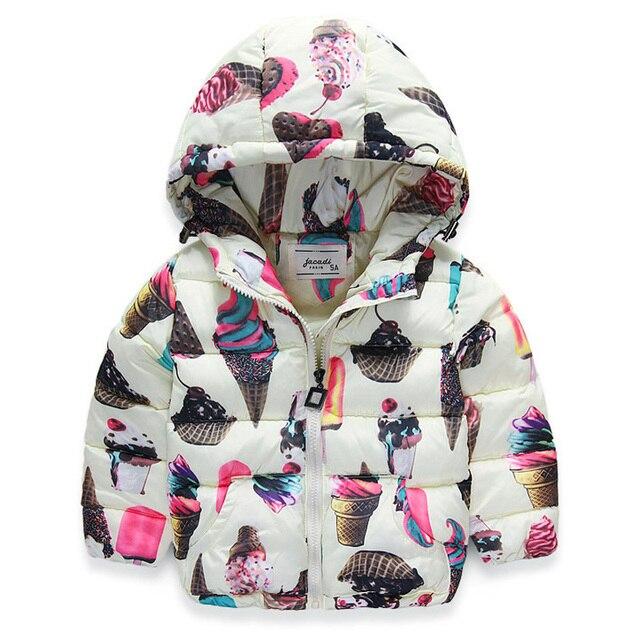 Новый 2016 Девушки Зимнее Пальто Дети Верхняя Одежда детские Толстые мультфильм пальто Куртки для девочек-младенцев детская одежда