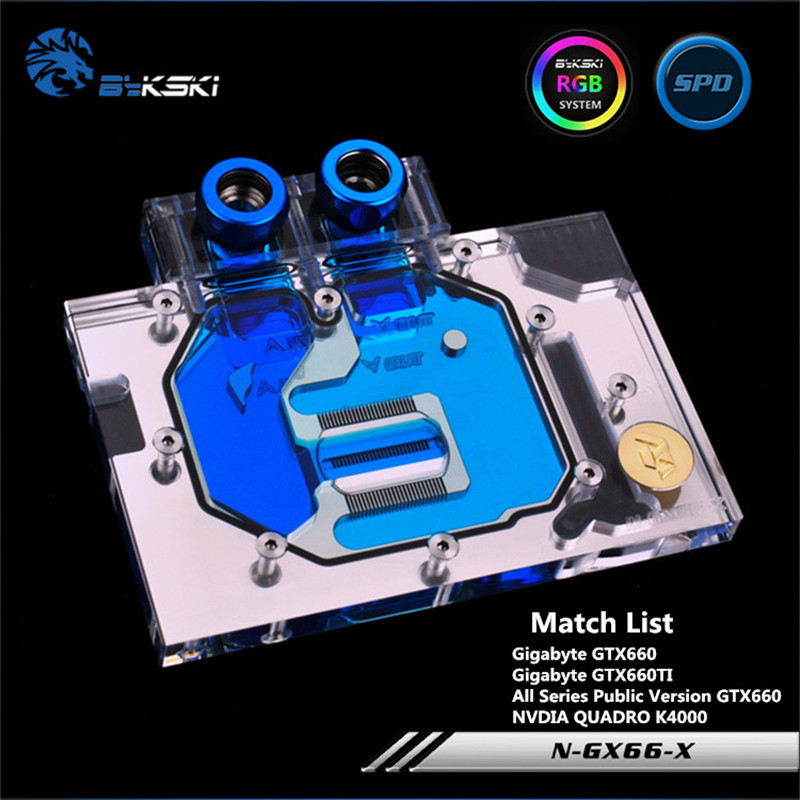 Bykski Full Coverage GPU Water Block For NVIDIA GTX660 K4000 Public Version Graphics Card N-GX66-X computador cooling fan replacement for msi twin frozr ii r7770 hd 7770 n460 n560 gtx graphics video card fans pld08010s12hh