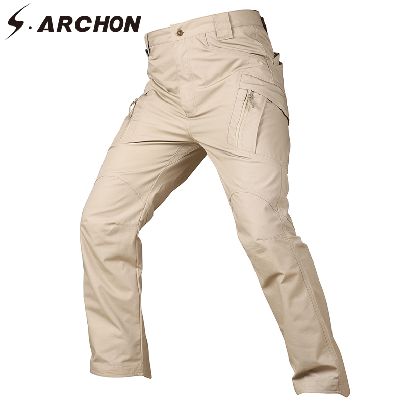 S.ARCHON Urban Waterproof Tactical Cargo Pants Men Elastic Ripstop Military Combat Pants Causal Multi Pockets Military Trousers