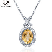 DOUBLE R Natural 1.2ct Citrine Diamond Pendant Women Silver 925 Oval Pendant Necklace Classic Gemstone Jewelry Gift With Chain
