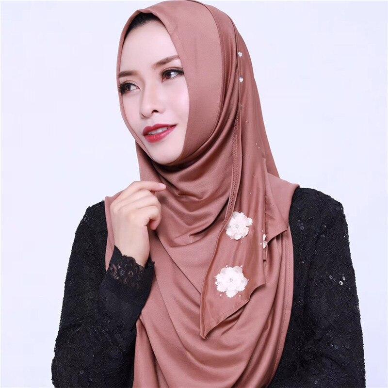 Fashion Muslim Women's Hooded Wraps Bonnet Cap Shawl Headscarf Abaya Headgear Arab Islamic Instant Hijab Diamond Scarf Bandanas