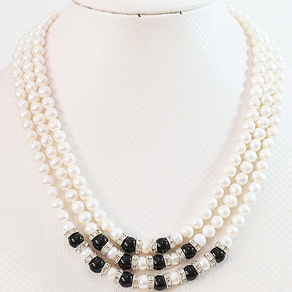 Natural white pearl stone 7-8mm new 3 rows round beads diy noble jewelry necklace making 17-19B646