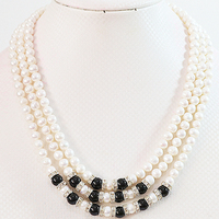 Natural white pearl stone 7 8mm new 3 rows round beads diy noble jewelry necklace making 17 19B646