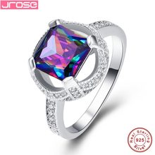 Jrose Wholesale Mystic Rainbow White Cubic Zircon 925 Sterling silver Ring Size 6 7 8 9 Princess Queen Fine Jewelry Party Gifts(China)