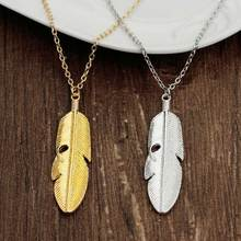 KYSZDL 2017 New Fashion womens vintage long necklace jewelry silver gold simple feather pendant necklaces colar Jewelry gifts