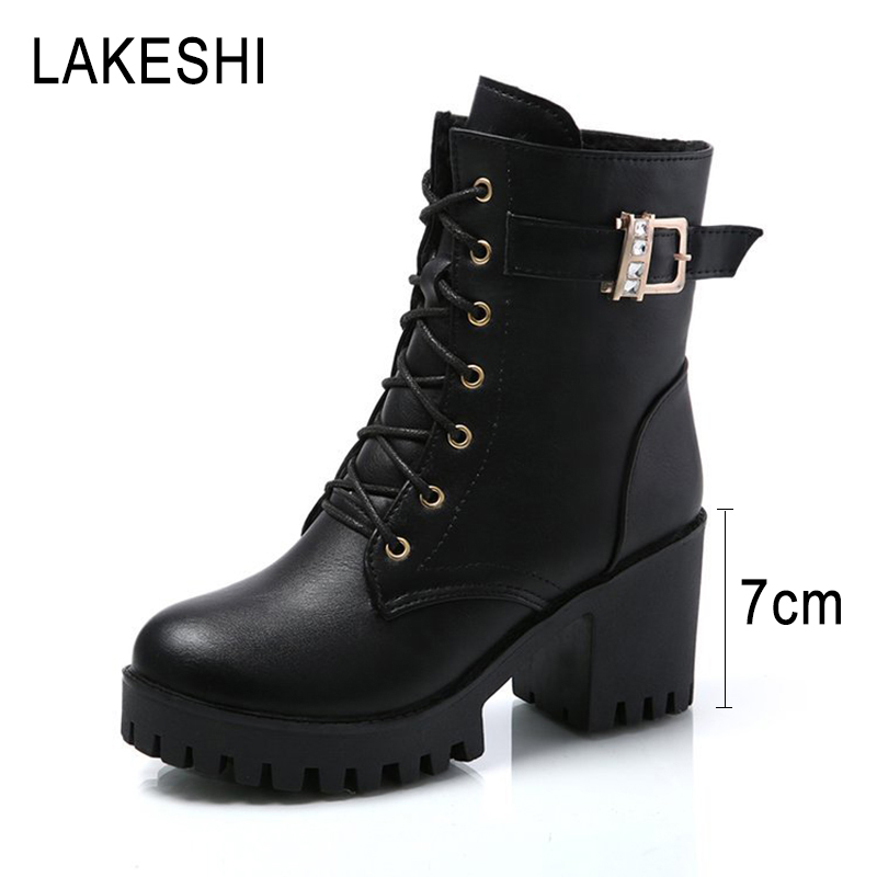 LAKESHI Women High Boots Thick Heels Women Boots Platform Round Toe Ankle Boots Women Shoes Lace-Up Women Heels Ankle BootsLAKESHI Women High Boots Thick Heels Women Boots Platform Round Toe Ankle Boots Women Shoes Lace-Up Women Heels Ankle Boots