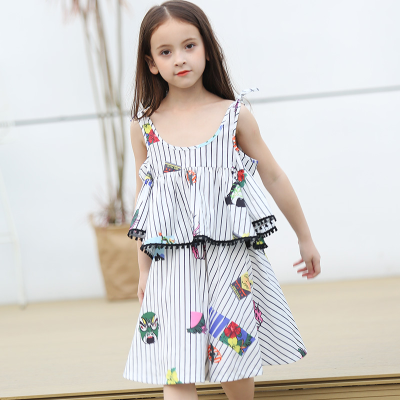 Summer Girls Clothes Set Striped Vest + Beach Skirt Boho Clothing 2 pcs Vocation Wear Brand Designs 5 6 7 8 9 Years Girls Wear skirt red 5 10 years 100