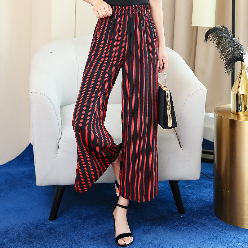 2019 Summer Bohemian Striped   Wide     Leg     Pants   Plus Size 5XL 10 Colors Ankle-Length Trousers Women Casual Female Straight   Pants
