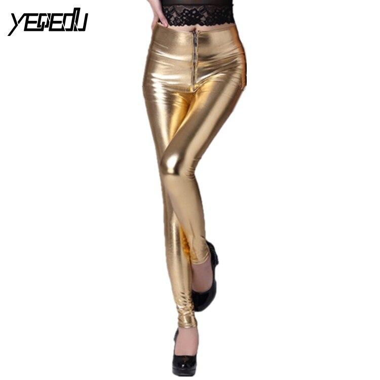 #0507 2019 Sommer Sexy Faux Leder Leggings Frauen Knöchel-länge Hohe Taille Mit Zipper Bleistift Hosen Elastische Pu Shiny Gold/silber