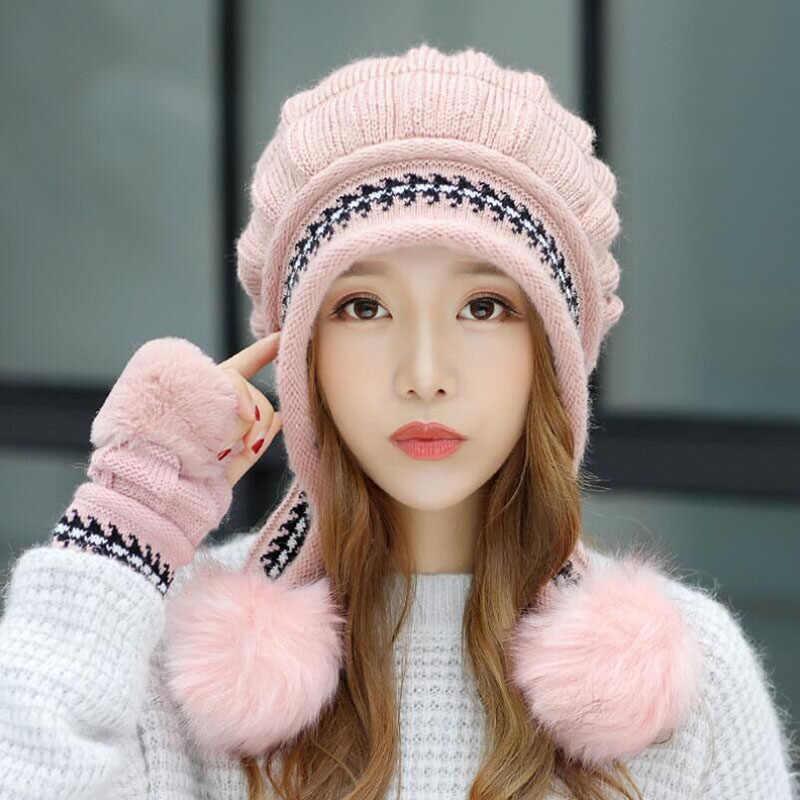 BING หยวน HAO XUAN 2018 Wimter หญิงหมวกฤดูใบไม้ร่วงฤดูหนาวสบายๆทั้งหมดตรงกับจุดหวานถักหมวก + ถุงมือ