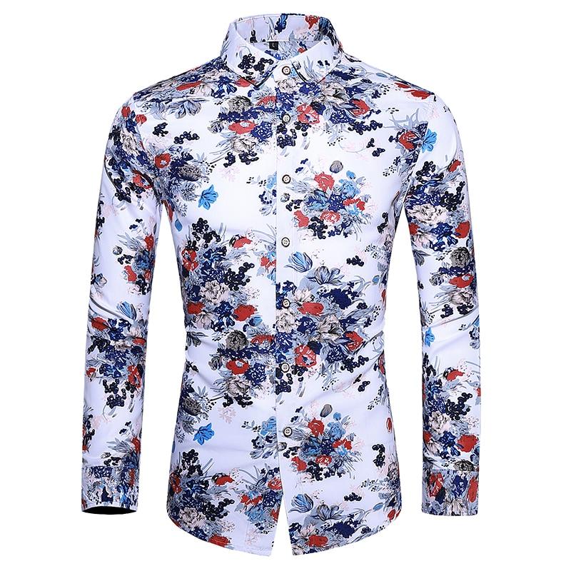 Autumn 2019 Men Dress Shirts Fashion Floral Print Beach Hawaiian Shirts Slim Fit Long Sleeve Mens Casual Shirts Camisa Masculina