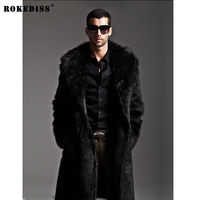 ROKEDISS New 2017 Cool Warm Male Long Design Faux Fur Leather Coats Fashion Autumn And Winter