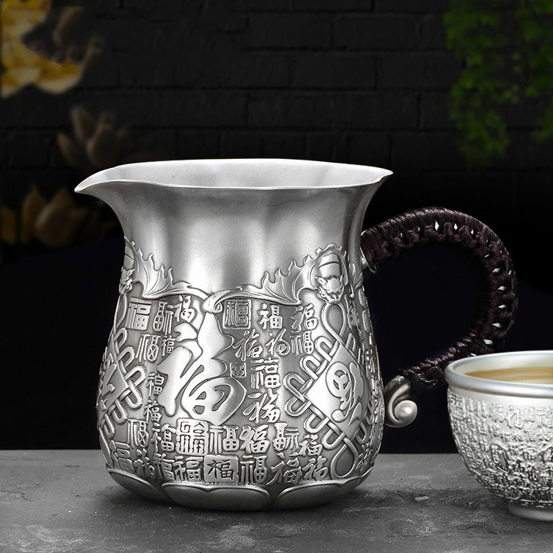 Hundred-year-old Craftsman Foot Silver 999 Teaware Fair Cup Tea Ceremony Family Kung Fu Separator Te