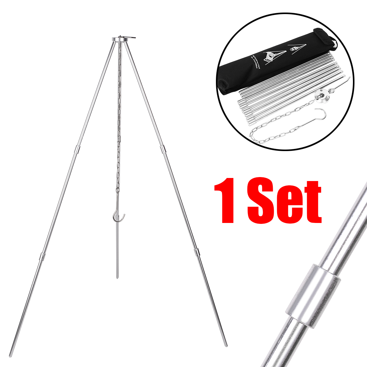 Image 2 - BBQ Grill Aluminum Tripod Portable Camping Picnic Cooking Tripod Hanging Pot For Outdoor Garden Camping Picnic Cooking-in Outdoor Stoves from Sports & Entertainment