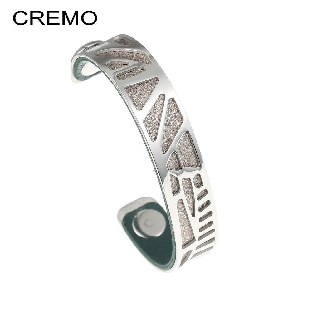 100% de haute qualité magasin discount aliexpress US $10.56 29% OFF|Cremo Woodpecker Cuff Bracelet Argent Jonc Femme Bangles  Minimalist Jewelry Stainless Steel Bracelets Reversible Leather Bangle-in  ...