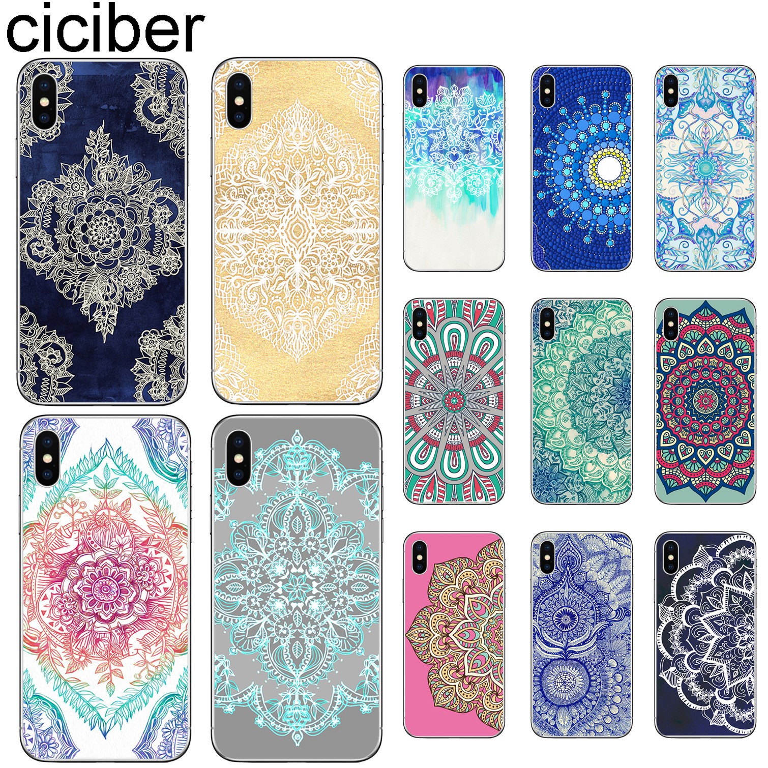 aed219a9d ciciber For Iphone 7 8 6 6S Plus 5S SE X XR XS MAX Clear Cover Soft  silicone TPU Phone Case Mandala Flower Datura Colorful Coque