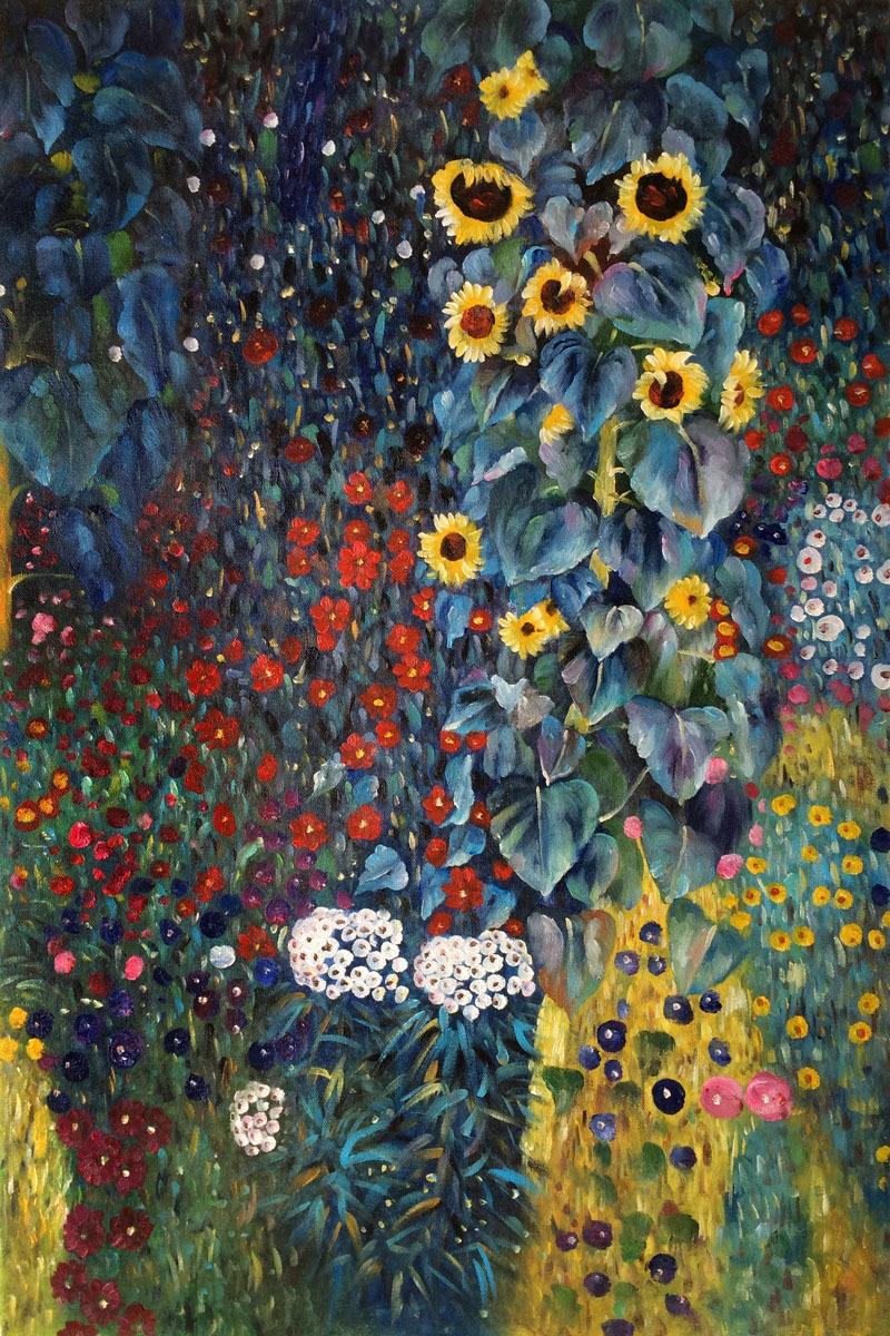 US $72.89 10% di SCONTO Pittura a olio di qualità del museo handmade 100%  giardino di campagna con girasoli di gustav klimt paesaggi pittura arte ...
