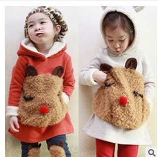 Child Suit! 2015 Autumn and Winter Children Set Twinset Clothing Plus Thick Velvet Sets Kids clothes with animal