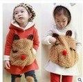 Traje de niño! 2015 de Otoño e Invierno de Los Niños Fijó Twinset Ropa, Además de Terciopelo Grueso ropa de Los Niños con animales