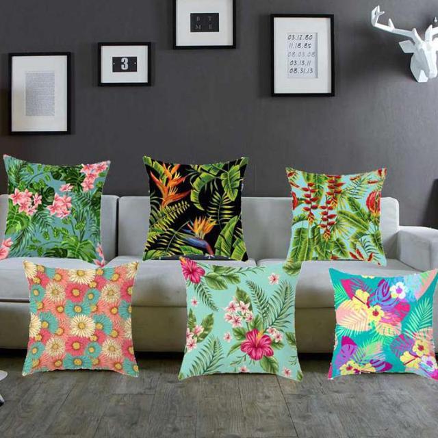 Banana Leaf Decor Flamingo Pillow Case Artificial Tropical Plants Palm Leaves Summer Flower Birds Cushion Cover