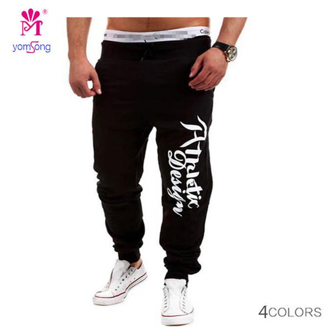 Yomsong depois de estilo Europeu de comércio exterior dos homens novos calça casual Calças patch bolso letras impressas