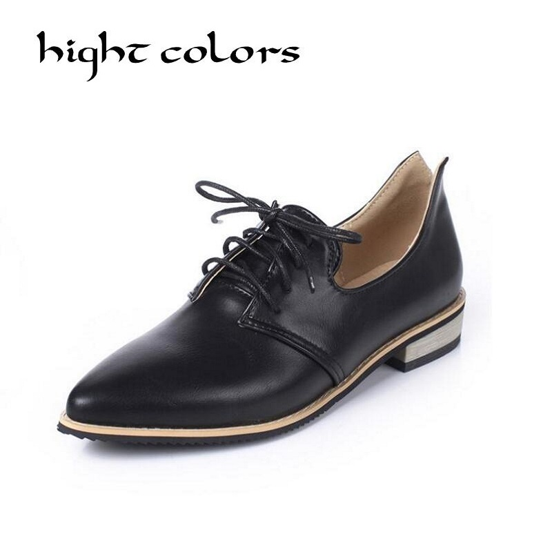 Plus Size Women Oxfords Shoes Spring Pointed Toe Flats Low Heels Casual Brogue Shoes Woman Vintage Flat Shoes qmn women crystal embellished natural suede brogue shoes women square toe platform oxfords shoes woman genuine leather flats
