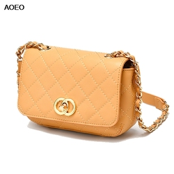 AOEO Brand Split Leather Shoulder Messenger Bags For Women Luxury Chains Handbags Girls Fashion Plaid Small Crossbody Bag Female