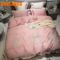 Svetanya розовый вышивка постельного белья queen King Размеры постельное белье 100 из египетского хлопка (лист наволочку Стёганое одеяло набор облож