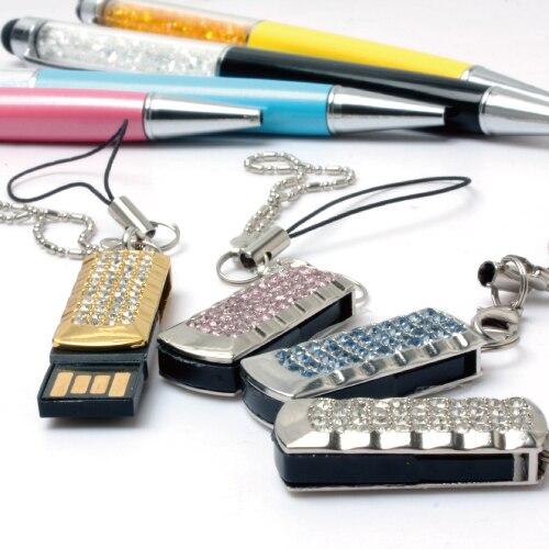 Pink Gold Rotating Mini Usb Flash Drive Pen Drive 64GB Crystal Thin Waterproof Cle Usb Stick Gift Pendrive 32GB 16GB 512GB 2.0