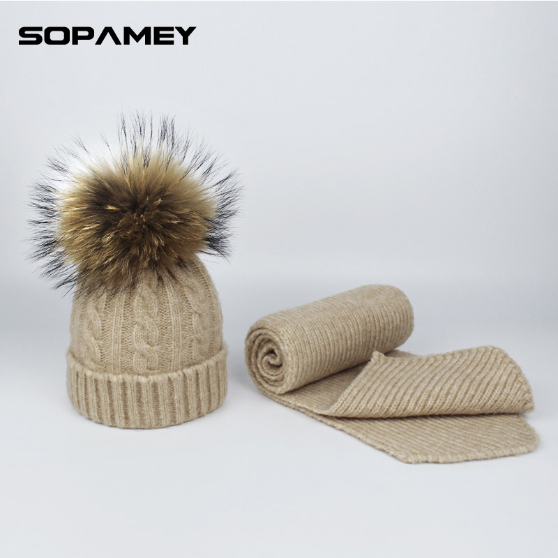 Children's Knitted Hat and Scarf Set Women Winter Wool Hats with Pompon Natural Fur Cap and Scarf for Woman High-end Dad Hats the new children s cubs hat qiu dong with cartoon animals knitting wool cap and pile