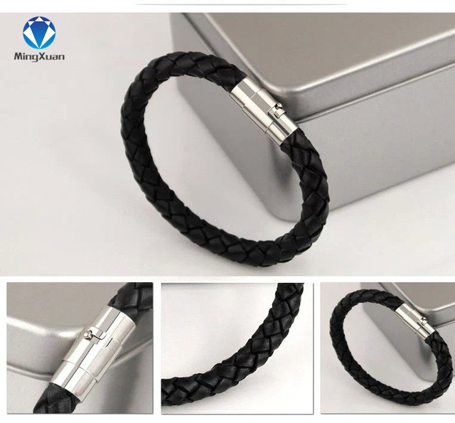 14colors Fashion Summer Style Bijoux Jewelry Unisex Men's Genuine Braided Leather Steel Magnetic Clasp Bracelet