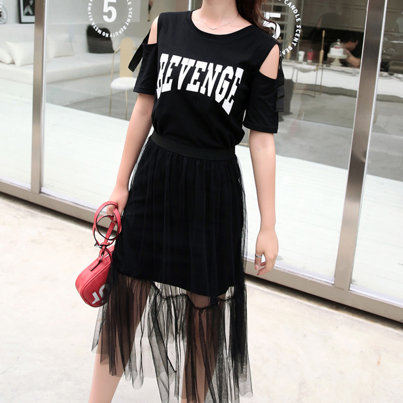 2019 Fashion 2 Piece Set Women Dresses And Mesh Skirt Off Shoulder Summer Revenge Letters Print Dress Women Casual Clothing Sets