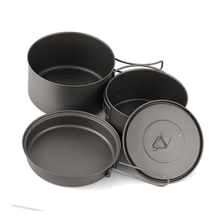 лучшая цена TOAKS Cookware Set Portable Titanium Cookware Three-piece Outdoor Camping Hiking Pots 1300ml+900ml Frying Pan