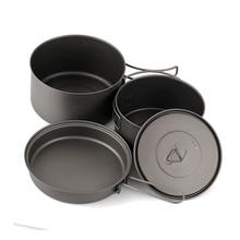 TOAKS Cookware Set Portable Titanium Three-piece Outdoor Camping Hiking Pots 1300ml+900ml Frying Pan