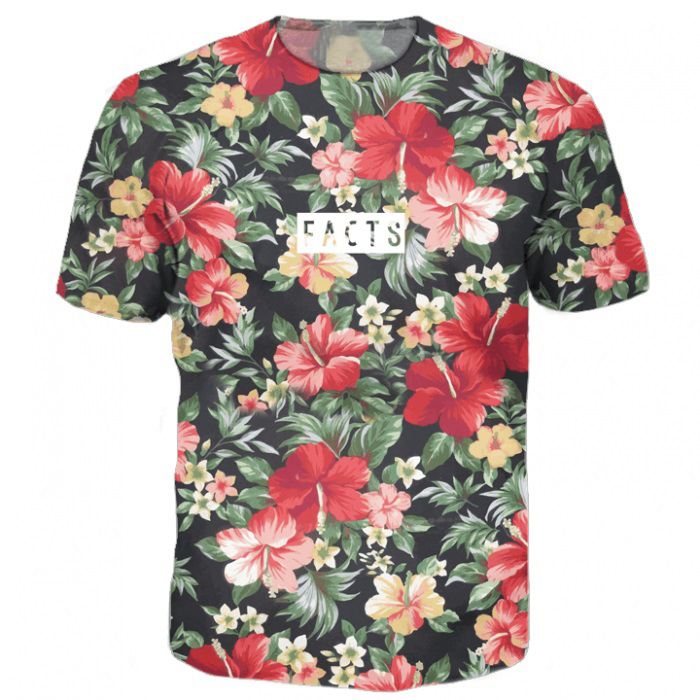 facts tee flowers 3d beautiful floral prints t shirt harajuku tshirt tops tees women men o neck