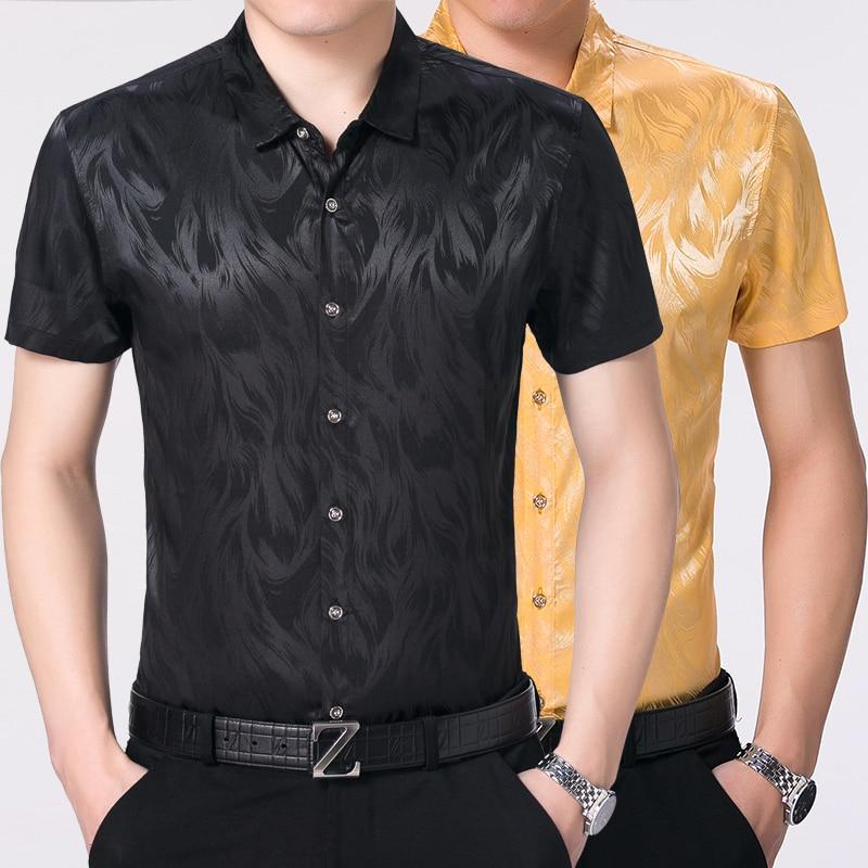 Men's Silk Shirts Short Sleeve Dress
