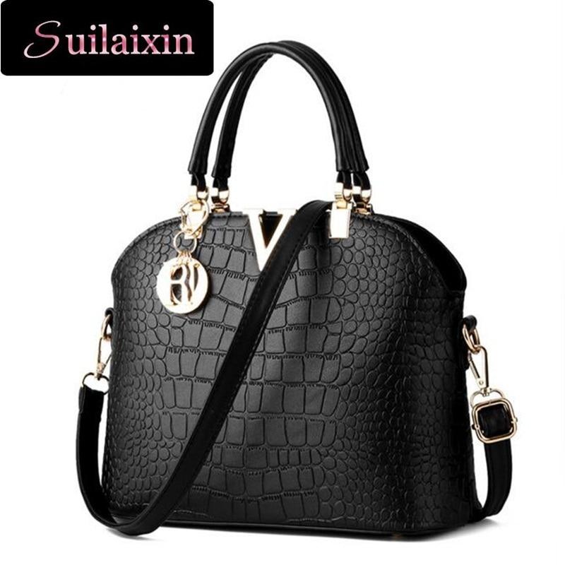 ФОТО Women Crocodile Leather Handbags Luxury Large Alligator Gold Shell Cross Body Bags Ladies  Messenger Bags Bolsos Femininas 2016