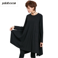 Yalabvso 2017 New Arrivals Winter O Neck Black Statin Ladies Long Sleeve DRESSE Loose Bottoming Dress