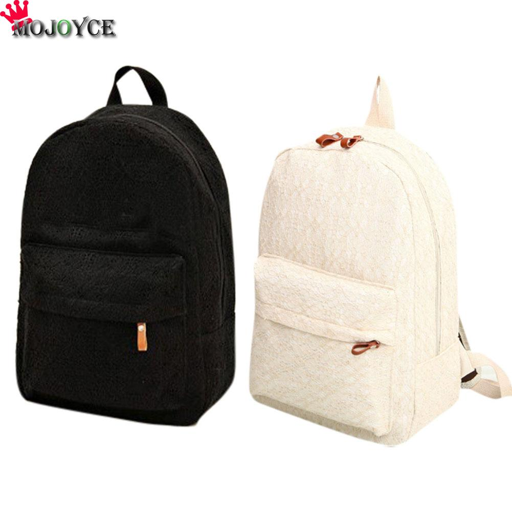 e9b59a4263 Fashion Sweet Girls Women Lace Hollow Out Backpack Korean Style Student  Canvas School Bag Rucksack for Teenager Girls Bolsa-in Backpacks from  Luggage   Bags ...